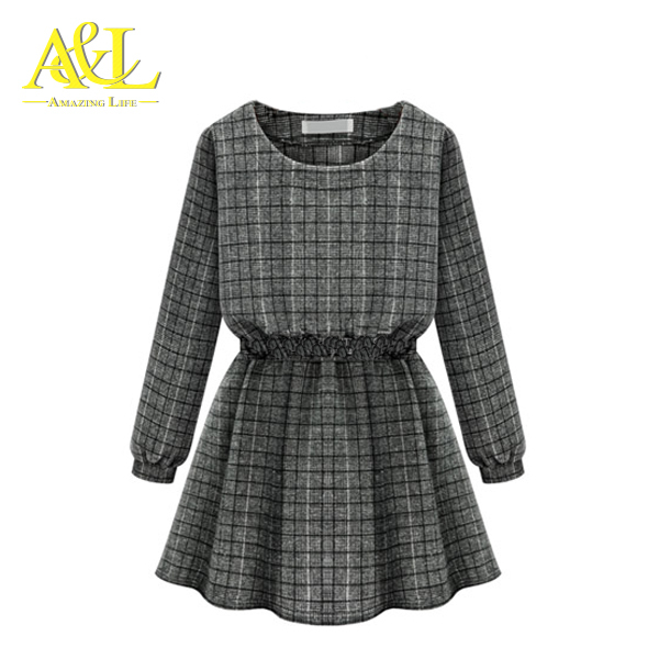 women dress vestido 2015 plus size women clothing autumn casual grey plaid O-neck long sleeve sexy tunic mini women dress 1601(China (Mainland))