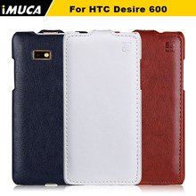 iMUCA Case for HTC Desire 600 High Quality Vertical Flip Leather Case Cover Pouch for HTC Desire 600 606W W/ Original Box(China (Mainland))