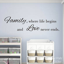 Family Love Life Quote Wall Sticker Family Life Begins Love Never Ends Wall Decal DIY Family Lettering Quotes Custom Colors Q27