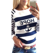 Women's Hoodies Hot Anchors Striped Causal Tracksuit Blue White Patchwork Sweatshirts Ladies Pullover Free Shipping(China (Mainland))