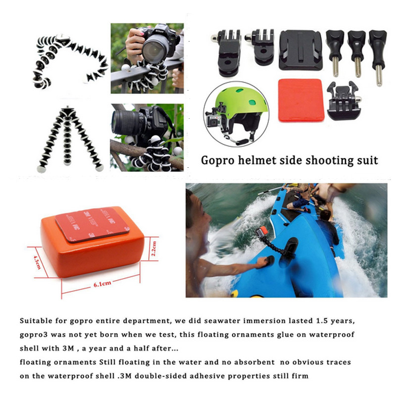 Gopro Accessories Set Helmet Harness Chest Belt Head Mount Strap Monopod Go pro Hero 4 session 3+ For xiaomi yi SJ4000 SJ7000