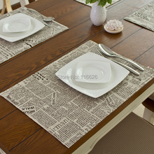 Fashion linen fabric placemat heat insulation mat dining table mat coasters 32x45cm newspaper printing(China (Mainland))