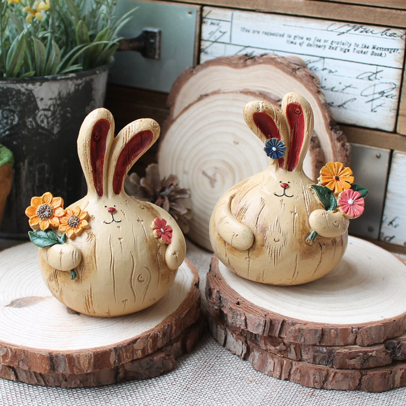 Free shipping  Fashion vintage rustic clothes long ears rabbit home decoration married the new house decoration(China (Mainland))