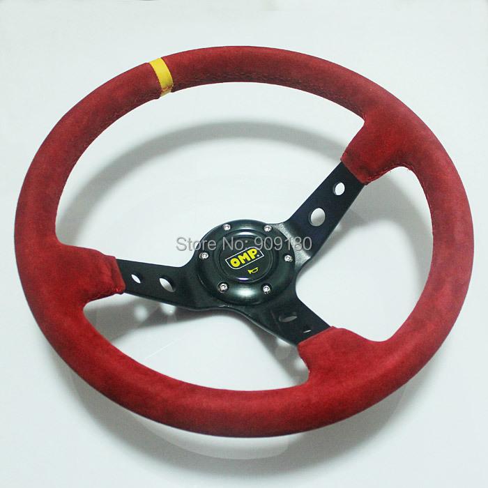"Здесь можно купить  Car Universal 350mm Red Suede Deep Dished Sport Racing Steering Wheel 14"" Leather For OMP Free Shipping 019  Автомобили и Мотоциклы"