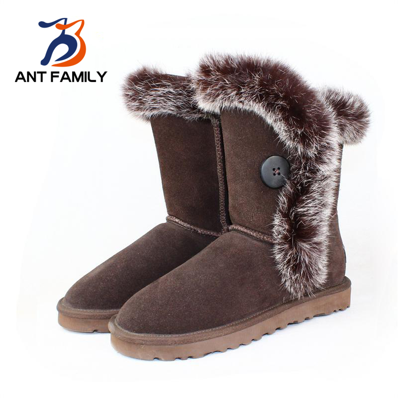 Real Rabbit Fur Sheepskin Boots Australian Brand Designer Boots Genuine Leather Warm Women Winter Snow Boots Mid Calf Flat Shoe(China (Mainland))