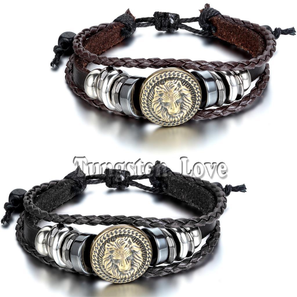 2015 Europe Punk Hand Made Braided Charm Bracelet Bangles Gold Lion Head Wristband Cuff Leather Bracelet For Men Adjustable(China (Mainland))