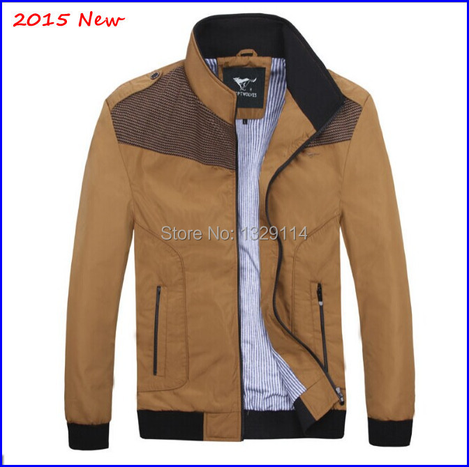 Free shipping 2015 Autumn Luxury Banded collar brown Jacket mens Slim fit MZ-1523(China (Mainland))
