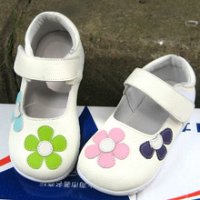 2016 Girls real leather shoes  children's genuine leather sneakers female kids Korean princess flower real skin shallow shoes(China (Mainland))