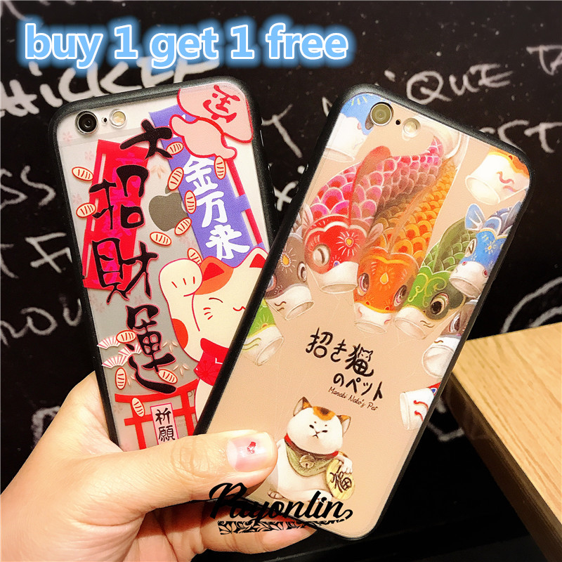 Buy 1 get 1 free Japan Cartoon Lucky cat Soft silicone case For Coque iPhone 5 5s se back cover plastic phone bag case(China (Mainland))