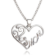 Wholesale Fashion Silver Plated Mom Letter Flower Chain Necklace With Crystal Stone Love Heart Necklaces Mothers Day Gifts(China (Mainland))