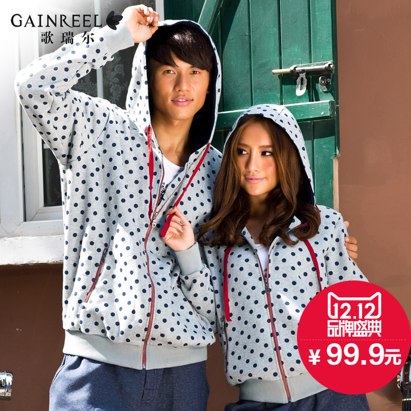 Couple pajamas song Riel casual and comfortable fashion wave point long sleeved sweater men and women