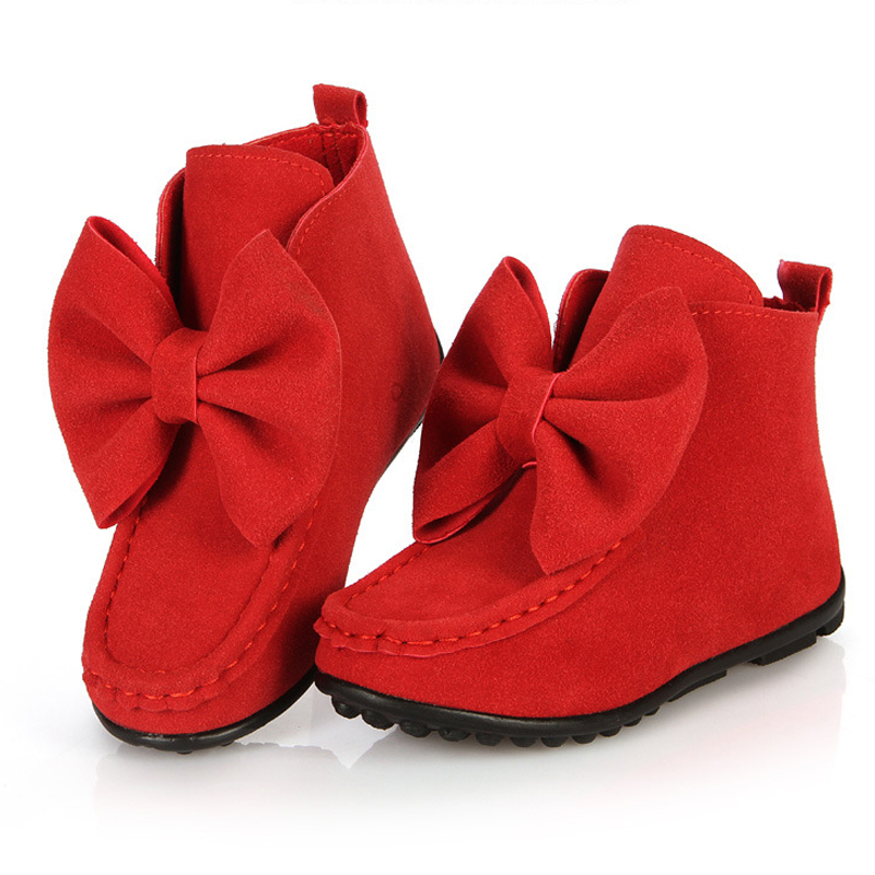 Girls Boots Butterfly Knot Low Ankle Children Winter Shoes Chaussure Enfant Fille Botas Para Nina Kinder Laarzen Zapatos Nieve(China (Mainland))