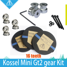 HOT!GT2 Gear kit & 3X 2M Timing Belt GT2 16 Tooth  wheel Timing Pulley bore 5mm + F623ZZ Bearing for Delta Rostock Kossel Mini