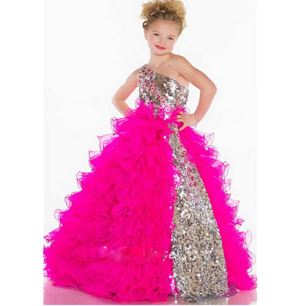 Sparkling Sequin and Tulle One-Shoulder Floor Length Children Pageant Dresses for Little Girls Glitz