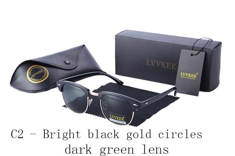 LVVKEE Brand design half-frame Mens Polarized sunglasses Club Womens Master Classic top quality Sun glasses with Original case
