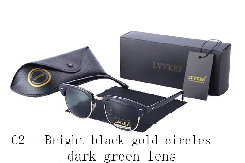 LVVKEE Brand design half-frame Mens Polarized sunglasses Club Womens Master Classic top quality Sun glasses with Original case