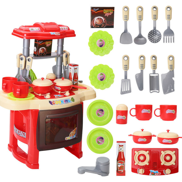 Multifunctional Children Kitchen Toys Simulation Kitchen Cookware Pretend Role Play Toy with Music Light for Family Fun