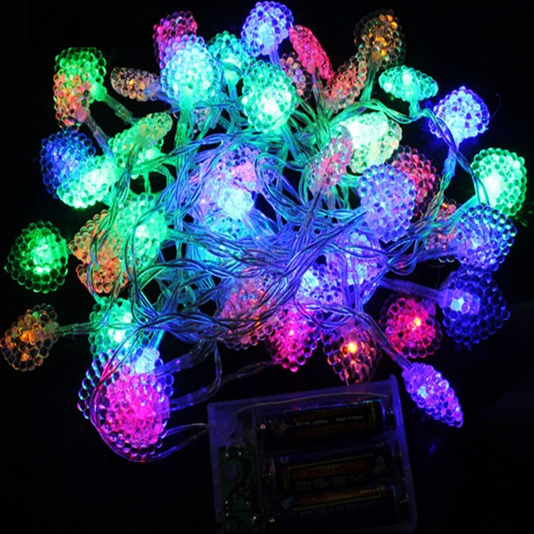 Battery Operated 5m 50 Bulbs LED Heart Strings Decoration Lighting lamps Christmas Holiday Home Night Lights(China (Mainland))