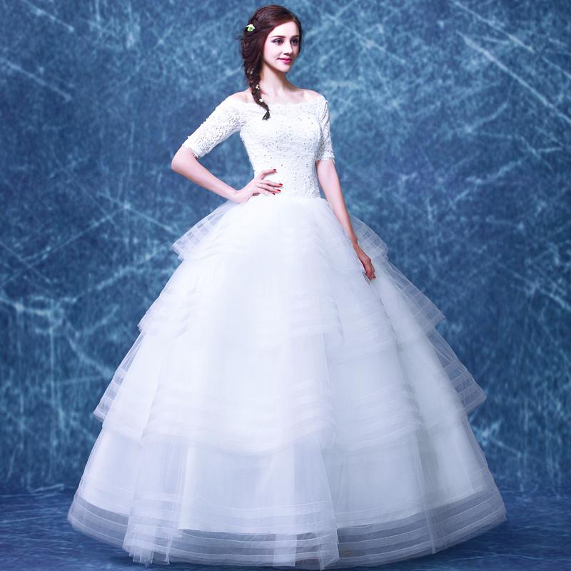 3 Tiered Lace Wedding Dress : Aliexpress buy white lace wedding dress