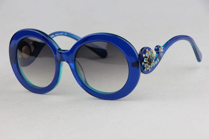 Round frame Ms. sunglasses SPR33OS Blue Plate Frame Gradient Lens inlay Rhinestone Retro Style  Anti-UV 400 Одежда и ак�е��уары<br><br><br>Aliexpress