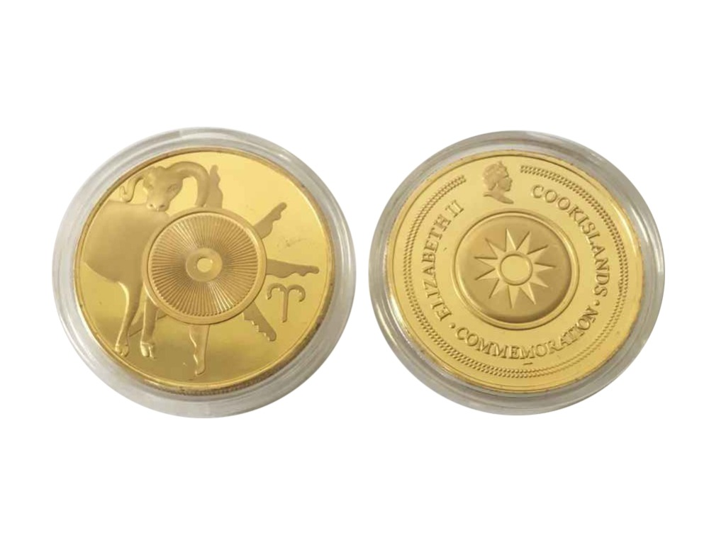 Zodiac Signs Aries Constellation Poker Guard Coin Gold Plated Collectible Gift(China (Mainland))
