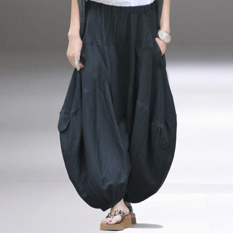 Natural fluid bloomers female trousers feet casual pants plus size linen wide leg - yoyo's love cloths store