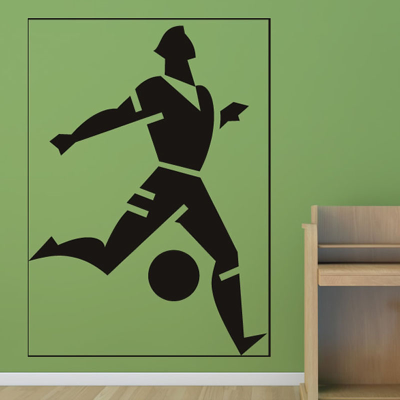 Top Selling Football Player Frames Wall Stickers Boys Bedroom Vinyl Removable Home Decor(China (Mainland))