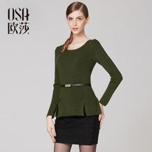 OSA Designer Womens Sexy Ruffles Hem Slim Fit Sweater O Neck Long Sleeve Tops Tricotado SE38084(China (Mainland))