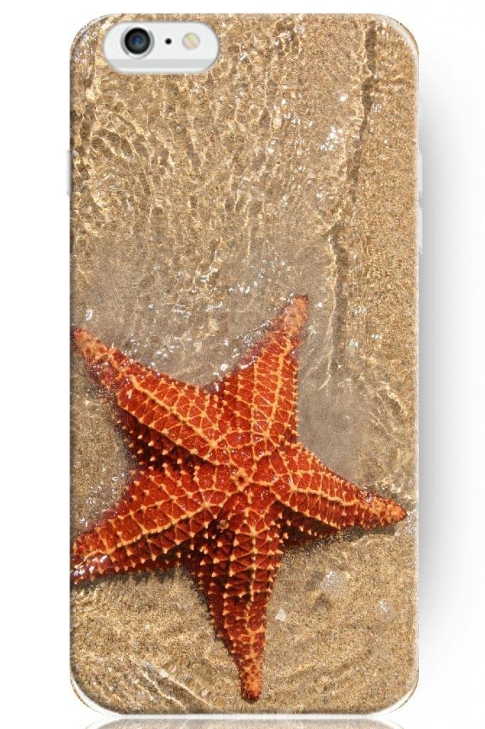 New Classic Charming Design Personalized Hard Plastic Snap on Slim Fit Case Red Starfish on Beach for iphone 6 plus Cover Ocean(China (Mainland))