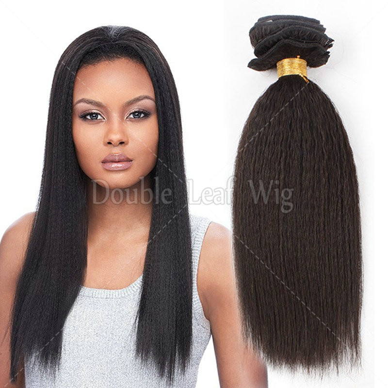 grade 5A coarse yaki straight brazilian virgin hair kinky straight human clip in hair extensions free shipping