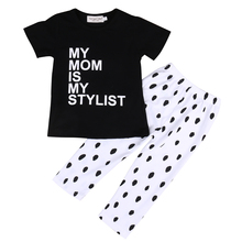 Cute Baby Boys Girls Kids My Mon Is My Stylist Casual T-shirt Tops+Long Pants Outfit Clothes Set(China (Mainland))