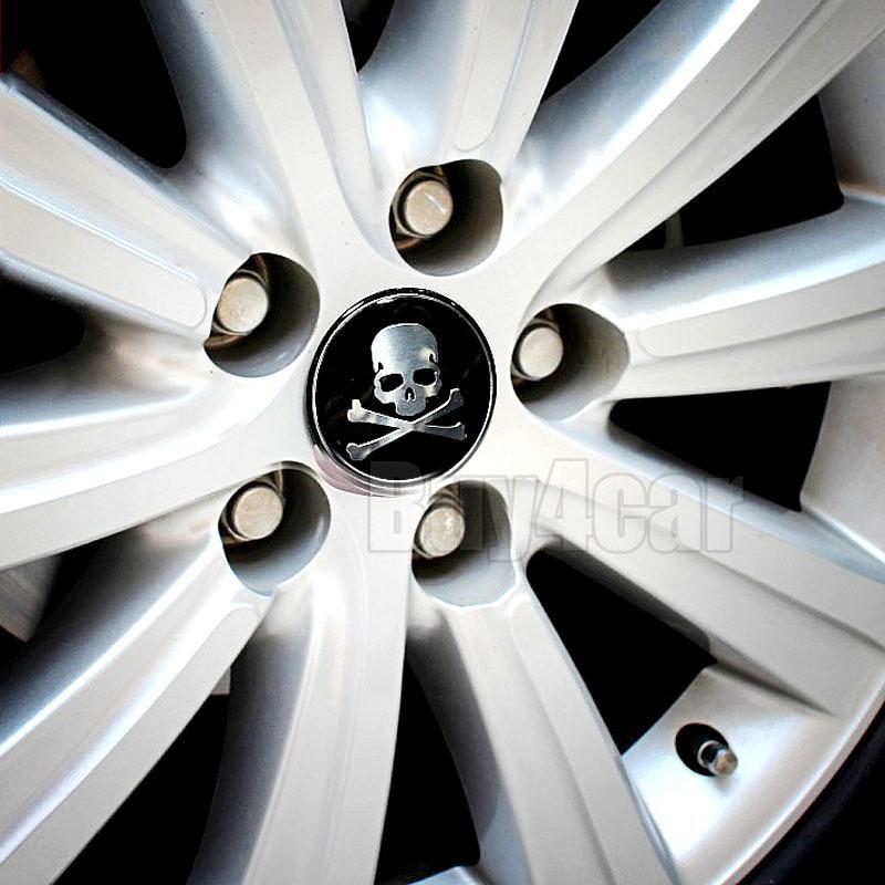 4pcs Car Wheel Tire Center Hub Cap 60MM Skull Skeleton Pirates Emblem Badge Decal Symbol Sticker for VW BMW Ford Toyota #2346*4(China (Mainland))