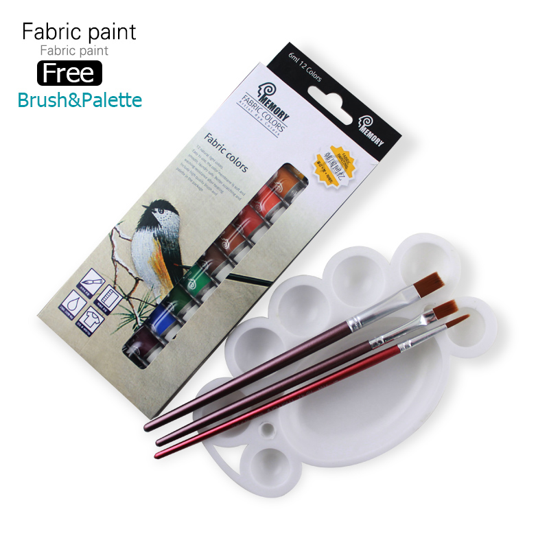 Memory Brand professional Textile Fabric Paint set Non Toxic Tube 12 Colors acrylic paint for artists free offer paint brush(China (Mainland))