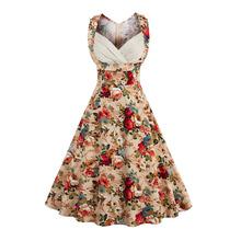 ZAFUL 4XL Retro Vintage 1950s 60s Lady Elegant Women High Waist Sleeveless Casual Party Midi Pleated Dress Feminino Vestidos(China (Mainland))
