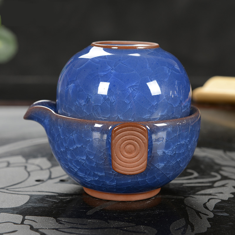 2016Tea sets Chinese KungFu Tea Fast passenger Cup One pot and One cup Ice crack Glaze Blue and white porcelain Ceramic tea sets(China (Mainland))