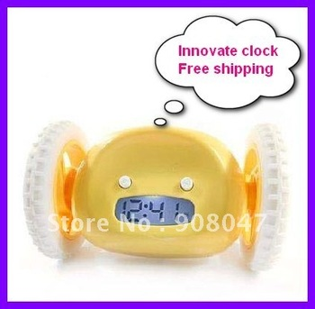 Free Shipping innovate alarm clock  a clock can run with two wheels 100% new gift clock 4 colors available Hot clock!!!