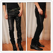 New men's  leather biker jeans skinny trousers Slim pants men's casual men feet pantalones hombre(China (Mainland))