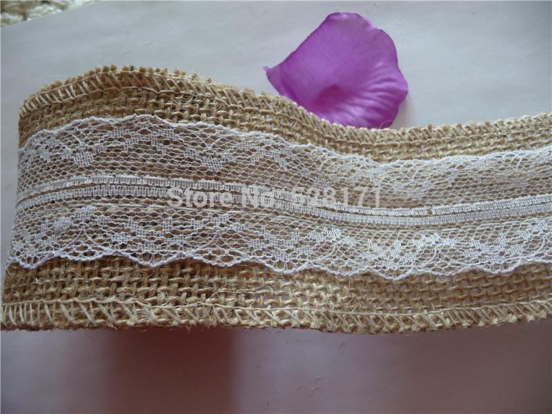 16cm X 2m Natural Jute Burlap Hessian Ribbon Lace Trims Tape Rustic Wedding Decor Cake Topper - Pretty store