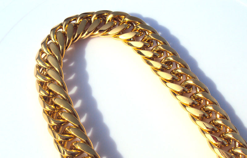 Heavy MENS 24K SOLID GOLD FILLED FINISH THICK MIAMI CUBAN LINK NECKLACE CHAIN(China (Mainland))
