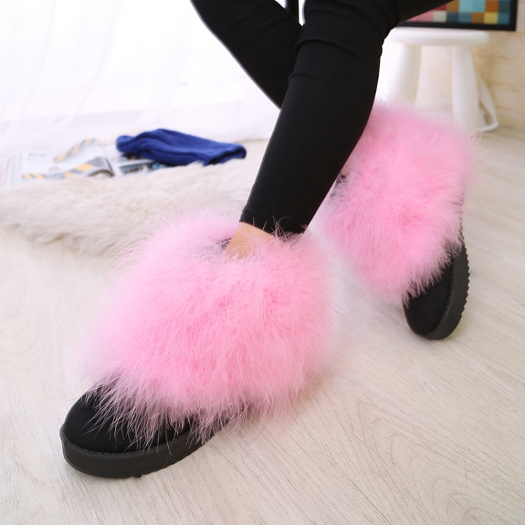 2016 Free Shipping Winter Round Toe Short Suede Feather Furry Fur Flat Heel Boots Ultralarge Scrub Boots Size 6-8.5 Hot pink(China (Mainland))