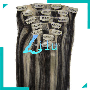 Wholesale 15''18'' 20'' 22'' Silky Straight Clip in 7pcs Hair Extension #1B/613