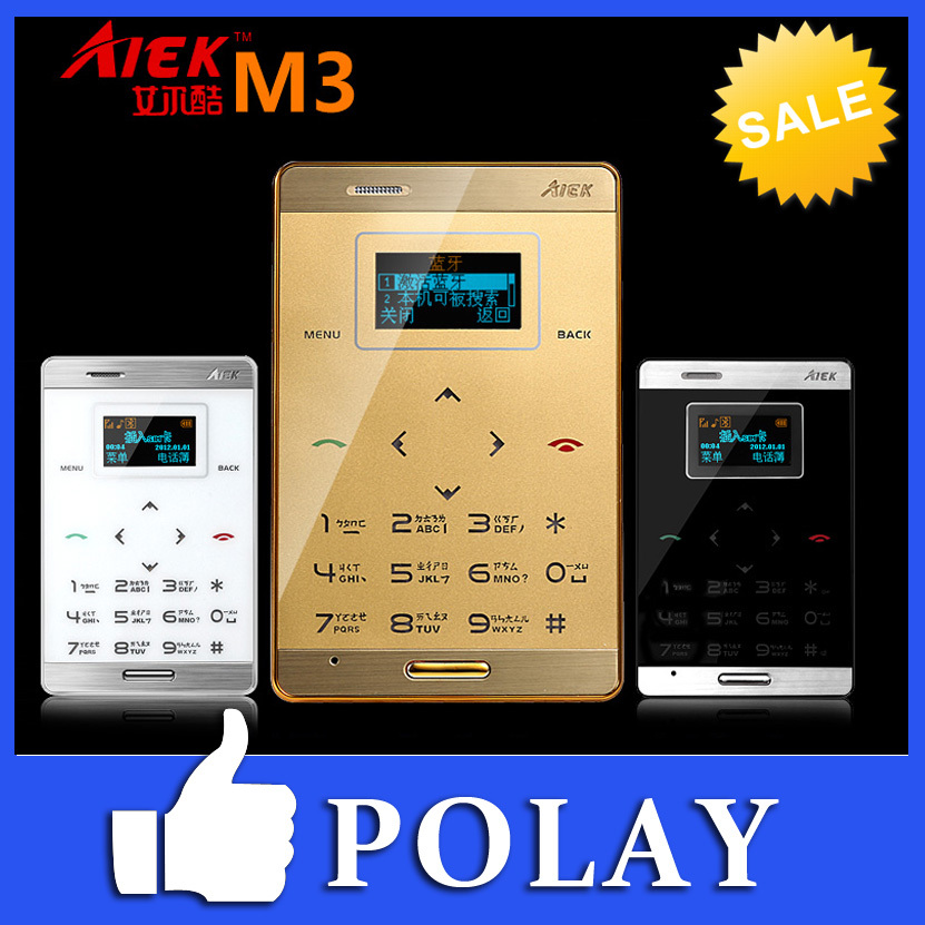 Original AIEK M3 Dual Sim Card Mini Touch Ultra-thin Pocket Cool Mobile Cell Phone MP3 FM Bluetooth Englis/Arabic Keyboard(China (Mainland))