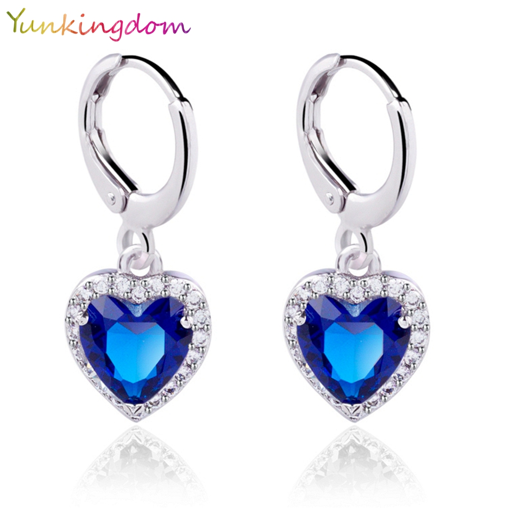 Yunkingdom White gold plated wedding earrings zircon crystals Heart design Drop girls 4 colors - Yunkingdom---Top Fashion Jewelry store