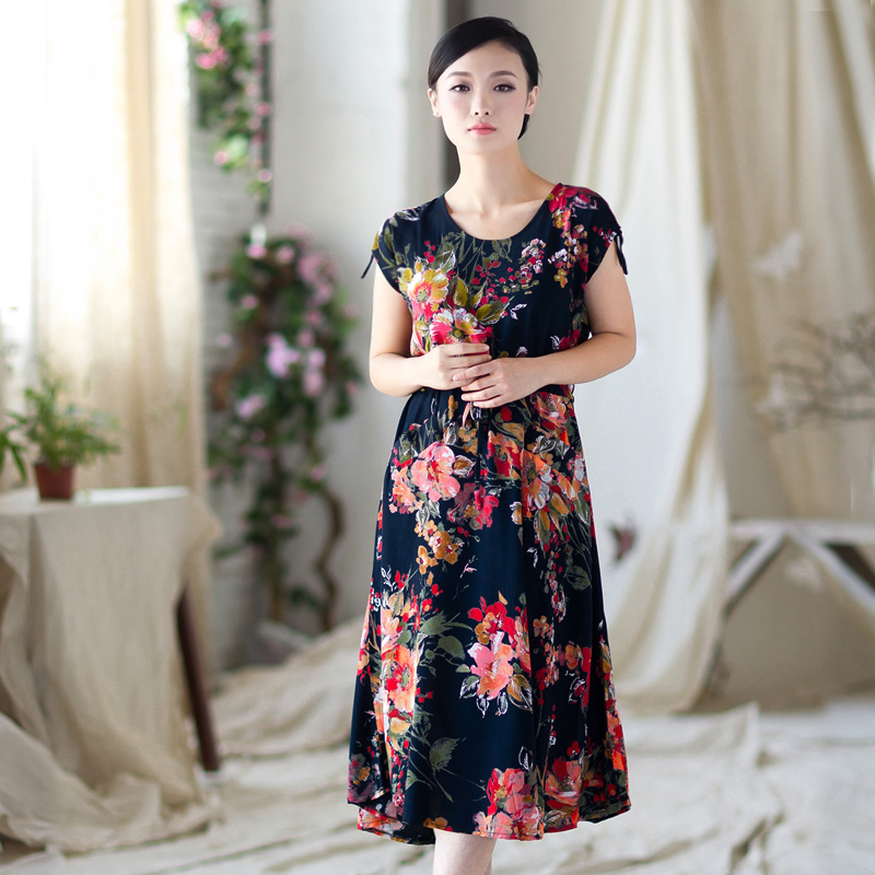 Faldas New Maxi Skirt Skirts The 2015 Summer Folk Style Big Baggy Middle-aged For Floss Flowers School Code Elderly Ladies 211(China (Mainland))