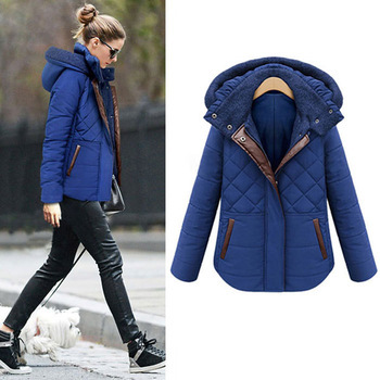 Women Down Jacket Parka Winter 2015 New Fashion Brand Plus Size Plaid Hooded Thick Contrast Color Slim Ladies Overcoat 271Одежда и ак�е��уары<br><br><br>Aliexpress