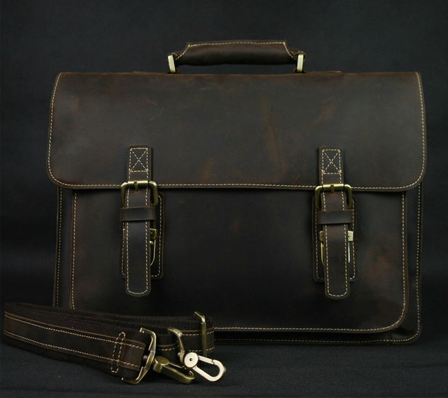Vintage Crazy Horse Genuine Leather Briefcase Men's Messenger Bag Leather Business Briefcase Tote 14
