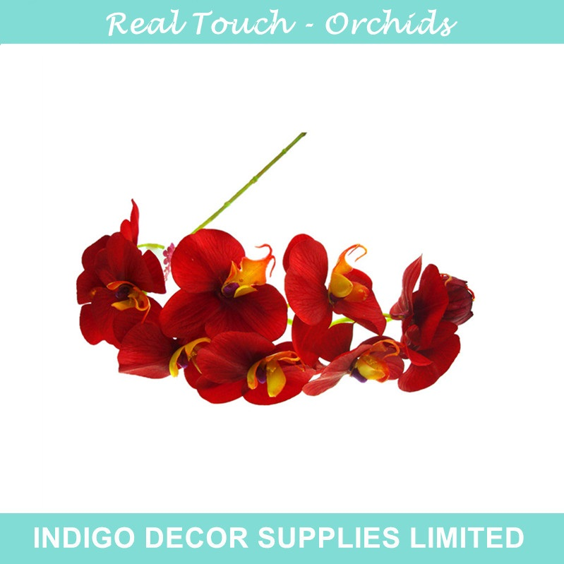 Red Phalaenopsis Orchid Silk Real Touch Flower Orchid Artificial Flower Wedding Flower Orchid Floral Party Free Shipping(China (Mainland))