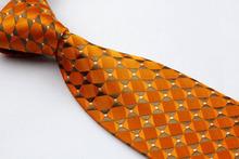 NT0291 Orange Brown Plaid Man s Classic Business Wedding Party Tie Fashion Luxury Jacquard Woven Silk