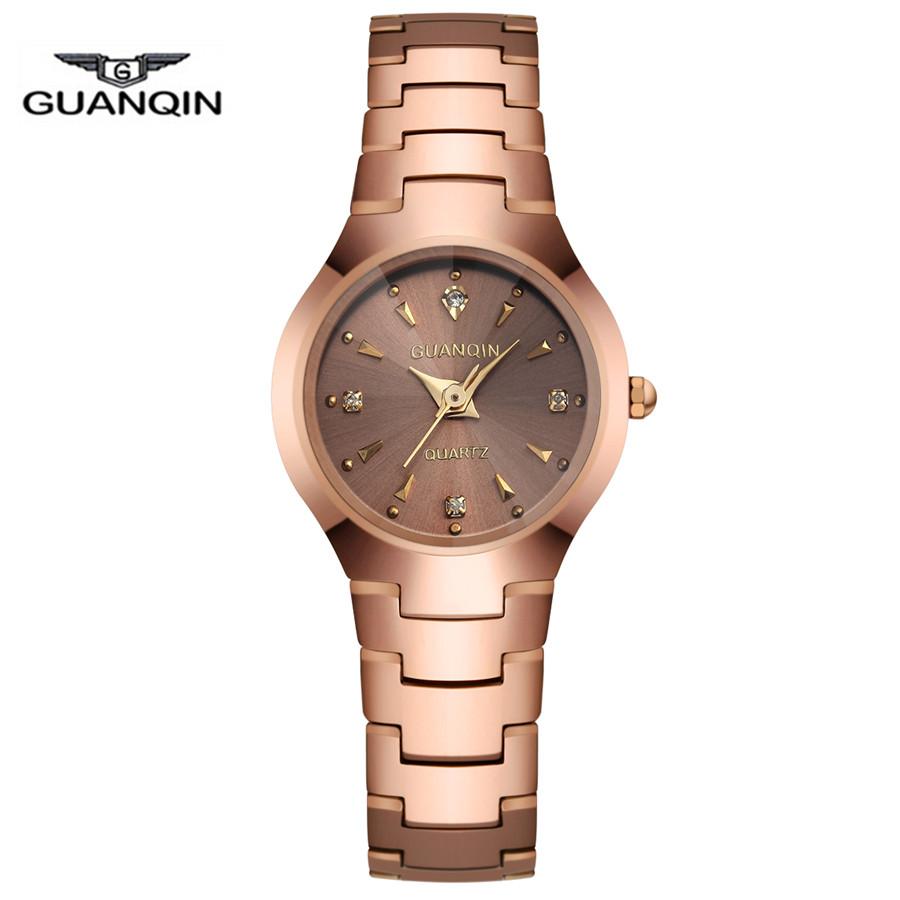 GUANQIN Brand Womens Tungsten Steel Luxury Quartz Watch Ladies Fashion Rose Gold Dress Watch Waterproof Montre Femme Relojes<br><br>Aliexpress