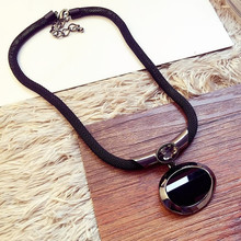 Buy 2016 New Arrival Women Pendant Necklaces All-match Elegant Black Beaded Necklace Exaggerated Clavicle Chain Accessories for $4.47 in AliExpress store